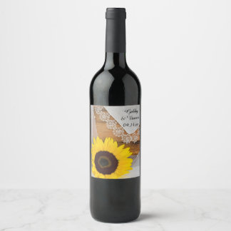 Sunflower and Vintage Lace Country Wedding Wine Label