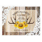 Sunflower Antlers Wood Lace Rustic Save the Date Postcard