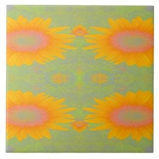 Sunflower Art on Green Tile