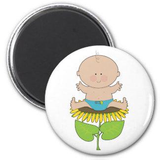 Sunflower Baby Boy 6 Cm Round Magnet