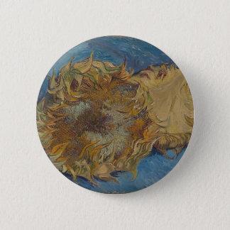 Sunflower background 6 cm round badge