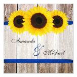 Sunflower Barn Wood Blue Ribbon Wedding 13 Cm X 13 Cm Square Invitation Card