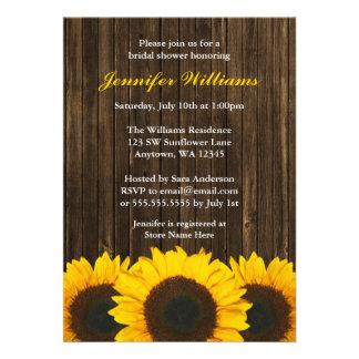 Sunflower Barn Wood Bridal Shower Custom Invitations
