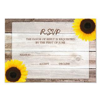 Sunflower Barn Wood Wedding RSVP Response Card 9 Cm X 13 Cm Invitation Card