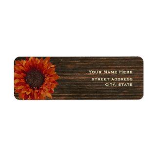 Sunflower & Barnwood Address Label