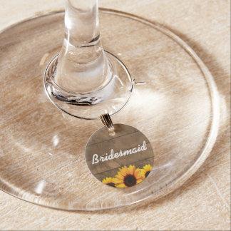 Sunflower & Barnwood Gold Bridesmaid Wine Charm