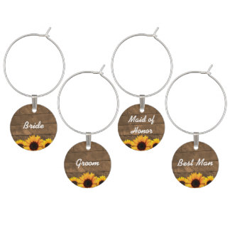 Sunflower & Barnwood Gold Personalized Wine Charms