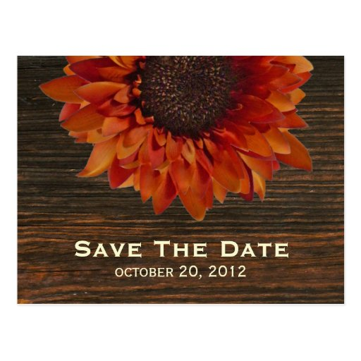 Sunflower & Barnwood Save The Date Postcard