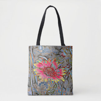 Sunflower Batik Style Tote Bag