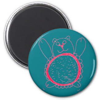 Sunflower Bear Round Magnet