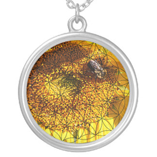Sunflower, Bee & Flower of Life Silver Plated Necklace