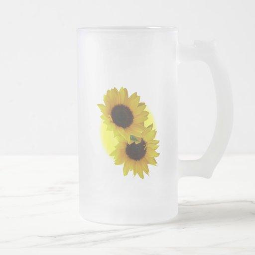Sunflower Beer Mug Cheerful Yellow Sunflower Mugs
