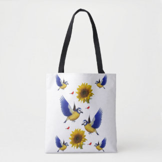 Sunflower bird tote bag