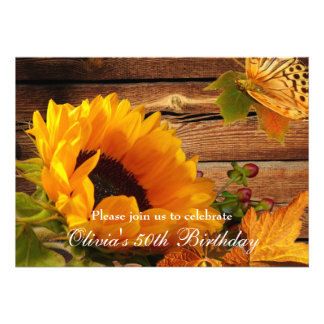 Sunflower Birthday Invitations Rustic Country Fall