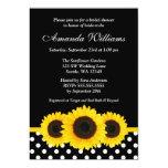 Sunflower Black and White Polka Dot Bridal Shower 13 Cm X 18 Cm Invitation Card