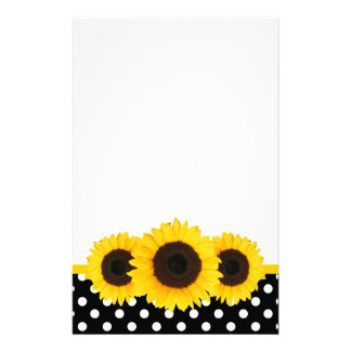 Sunflower Black and White Polka Dots Customized Stationery