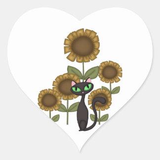 Sunflower Black Cat Heart Sticker