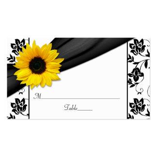 Sunflower Black Damask Floral Wedding Place Cards Pack Of Standard Business Cards