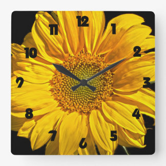 Sunflower Black Fat Numbers Wall Clock