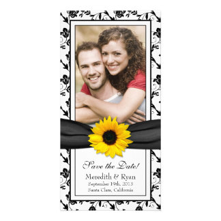 Sunflower Black Floral Ribbon Wedding Save Date Photo Card Template