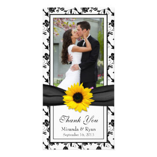 Sunflower Black Floral Ribbon Wedding Thank You Card