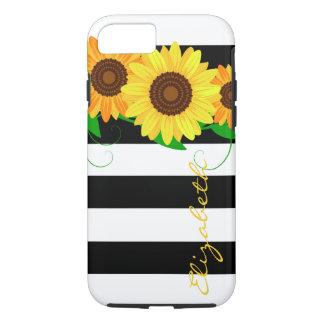 Sunflower & Black Stripes iPhone 7 Tough Case