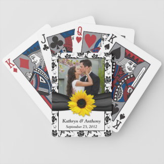 Sunflower Black White Damask Wedding Playing Cards