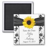Sunflower Black White Damask Wedding Save the Date