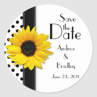 Sunflower Black White Polka Dot Save the Date Round Sticker