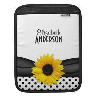 Sunflower Black White Polka Dots Sleeve For iPads