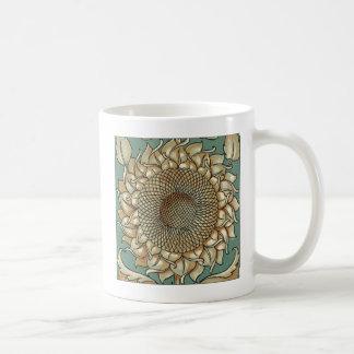 Sunflower Bloom on Blue-green Background Coffee Mug