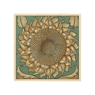 Sunflower Bloom on Blue-green Background Wood Wall Decor