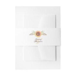 Sunflower Blossom Elegant Watercolor Wedding Invitation Belly Band