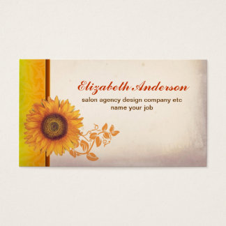 sunflower blossom vintage business card