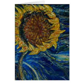 Sunflower Blown Blue Painting Art Card