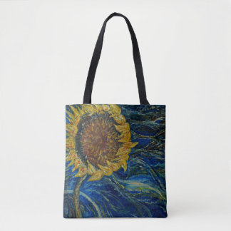 Sunflower Blown Blue Painting Art Tote Bag