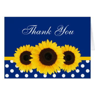 Sunflower Blue and White Polka Dot Thank You Card