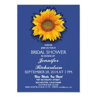 sunflower blue bridal shower invitation