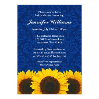 Sunflower Blue Damask Bridal Shower Invitation