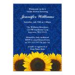 Sunflower Blue Damask Bridal Shower 13 Cm X 18 Cm Invitation Card