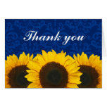 Sunflower Blue Damask Thank You Stationery Note Card