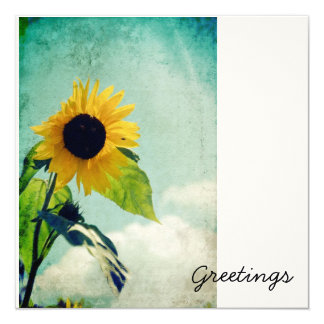 Sunflower Blue Sky Greeting Card 13 Cm X 13 Cm Square Invitation Card