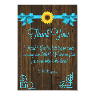 Sunflower Blue Thank You Card