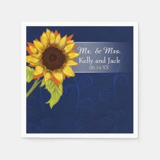 Sunflower/  Blue wedding cocktail napkin Disposable Serviettes