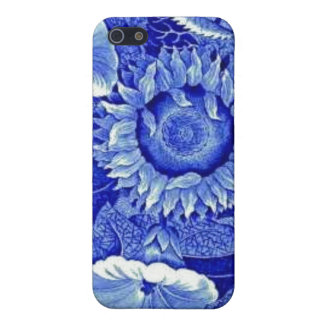 Sunflower Blue White Flower China Pattern Dishes Case For iPhone 5/5S