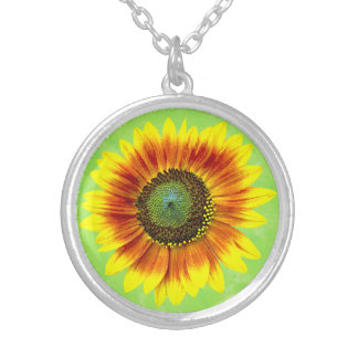 Sunflower Bold Floral Yellow and Green Flower Silver Plated Necklace