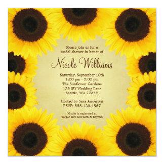 Sunflower Border Bridal Shower Card