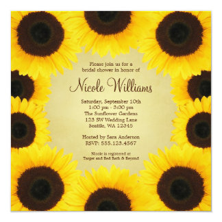 Sunflower Border Bridal Shower 13 Cm X 13 Cm Square Invitation Card