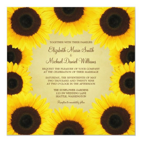 Sunflower Border Wedding Card