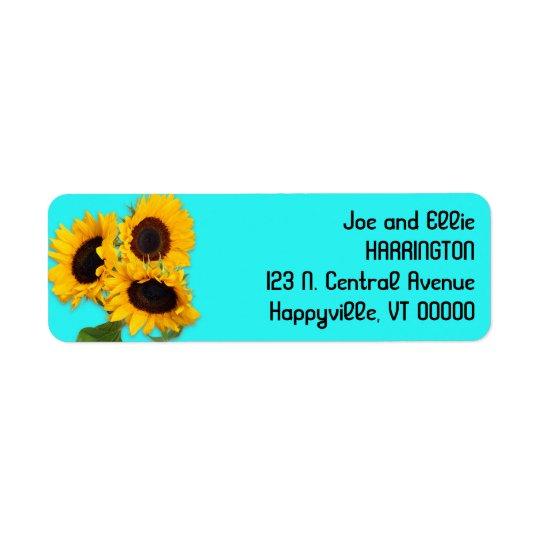 Sunflower Bouquet Bright Aqua Blue Return Address Return Address Label